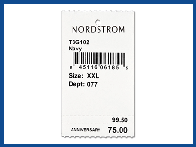 apparel barcode tag showing product details