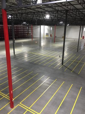 completed warehouse floor line striping