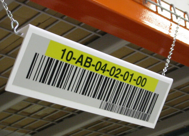 hanging warehouse location sign with barcode