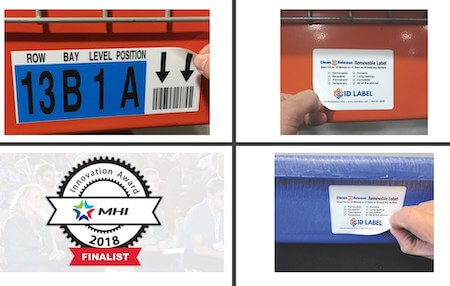 Multiple examples of Clean Release removable warehouse label