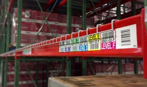 multilevel warehouse rack location label