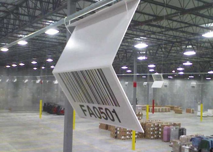 Z shaped overhead warehouse location sign