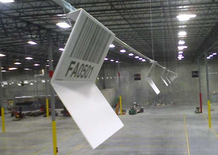 Z shaped warehouse location sign