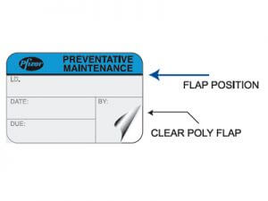 preventative maintenance label with protective laminate flap