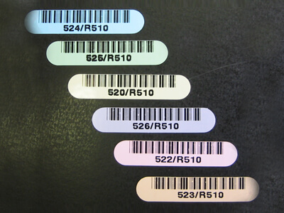 Kapton barcode labels in multiple colors