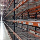 Newly labeled warehouse racking in aisle