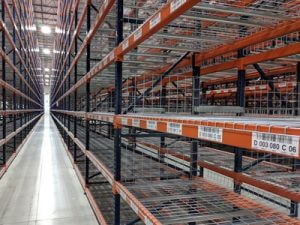 Newly labeled warehouse racking
