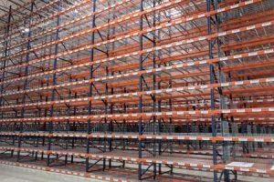 Newly labeled warehouse racking