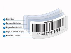 illustration of library barcode label construction