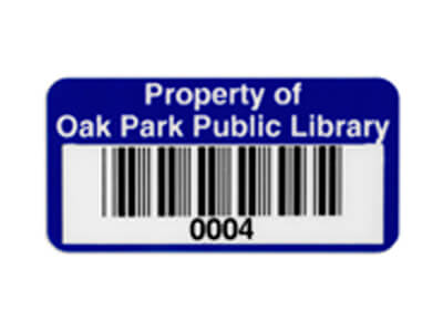 library barcode asset tag
