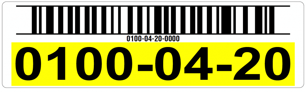Yellow warehouse rack label