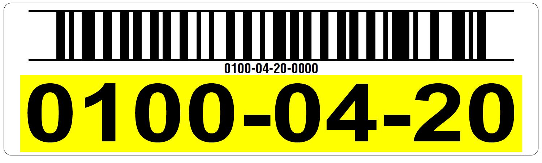 Yellow warehouse rack label