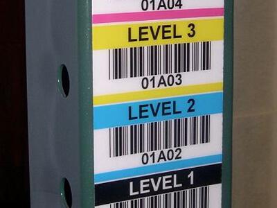 vertical warehouse rack label