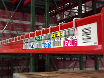 multicolor warehouse rack location label