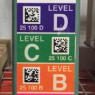BullsEye™ ultra-durable vertical warehouse label with 2D barcodes