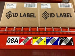 magnetic warehouse rack label with SideScan barcodes
