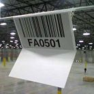 Two-sided overhead warehouse barcode sign