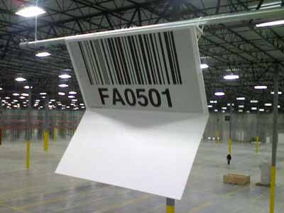 Two-sided Z-style warehouse barcode sign with retroreflective graphics