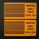 Orange warehouse tote barcode labels