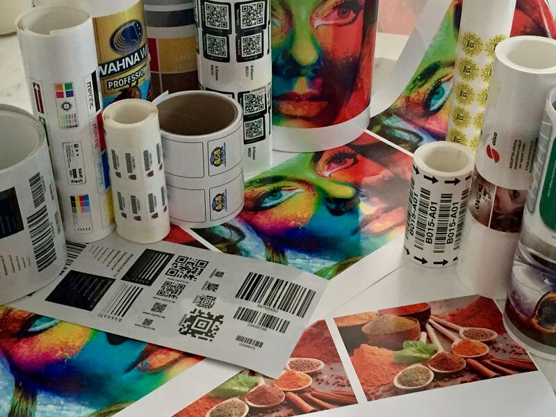 Digital inkjet multicolor label samples