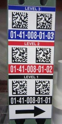 2D vertical warehouse location label