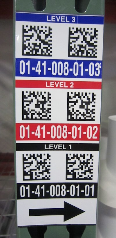 2D vertical warehouse location label