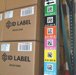 2D vertical warehouse upright rack labels on a magnet