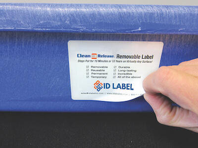 Clean Release label on warehouse tote