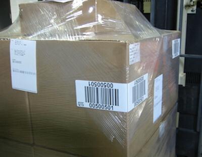 wrap-around LPN pallet label on forklift