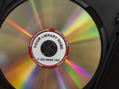 library dvd with barcode tracking label
