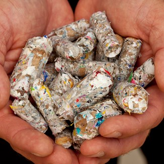 Fuel pellets made from ID Label production waste