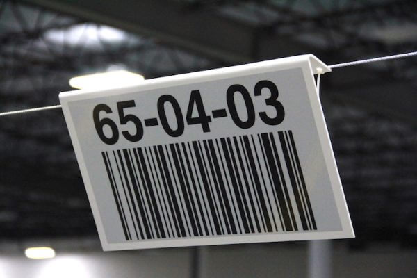 overhead warehouse location barcode sign