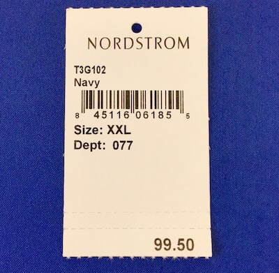 apparel barcode tag with tear off