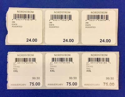 assorted apparel barcode labels