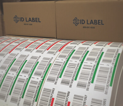 Warehouse pallet LPN labels on rolls