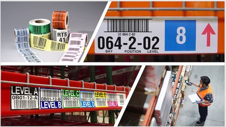 compilation of warehouse rack and pallet labels