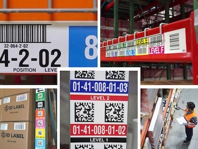 Montage of warehouse label products