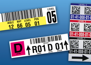 Multiple warehouse rack labels