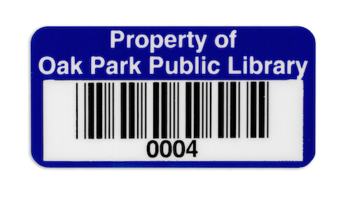 library barcode label for books and property