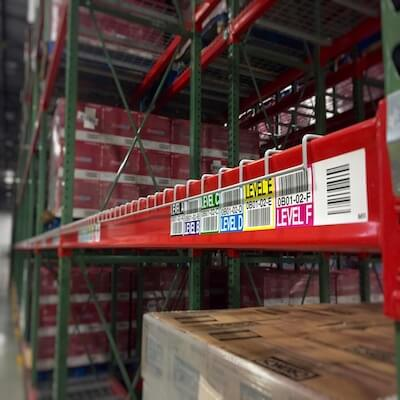 color warehouse rack location label