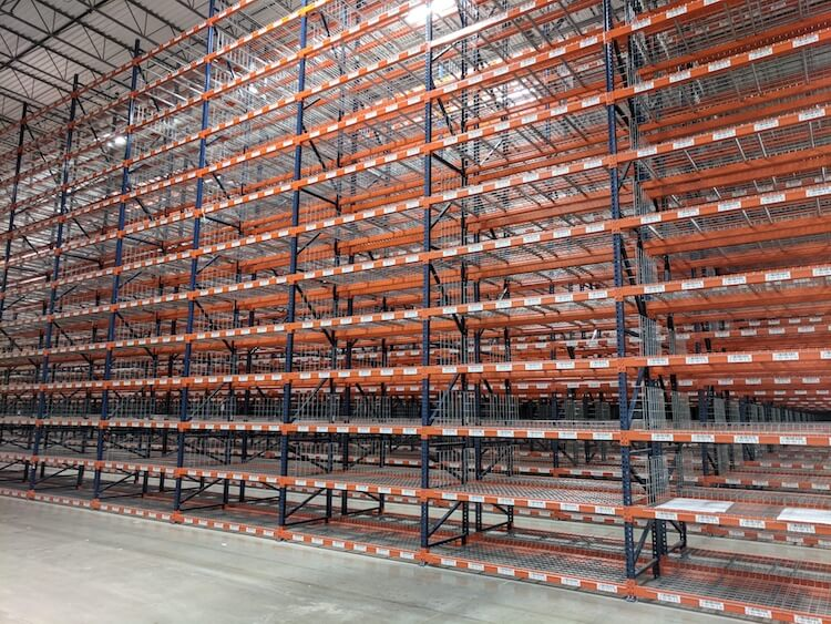 new warehouse racks with labels