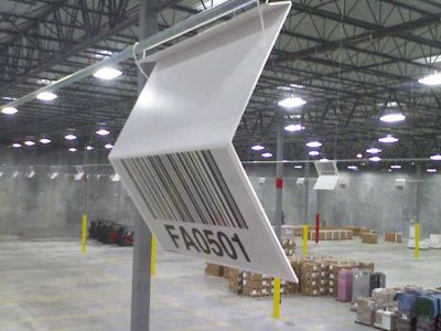 Z shaped two-sided warehouse location sign