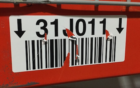 Warehouse label damaged by forklift