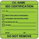 iso certification equipment label