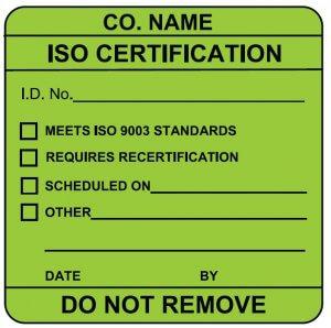 ISO certification label sample