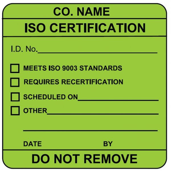 ISO certification label sample