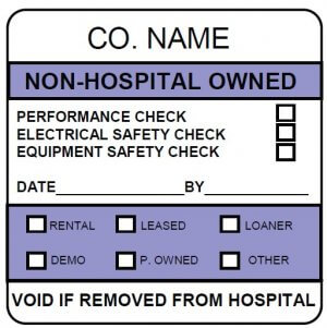 non-hospital-owned calibration label