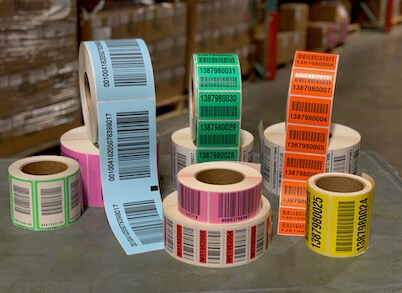 Warehouse LPN labels in multiple colors