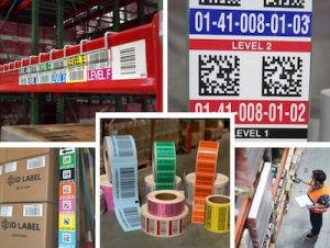 warehouse rack and pallet labels montage