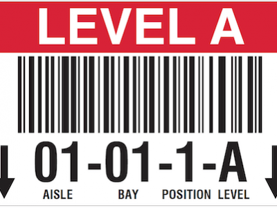 Warehouse barcode rack label